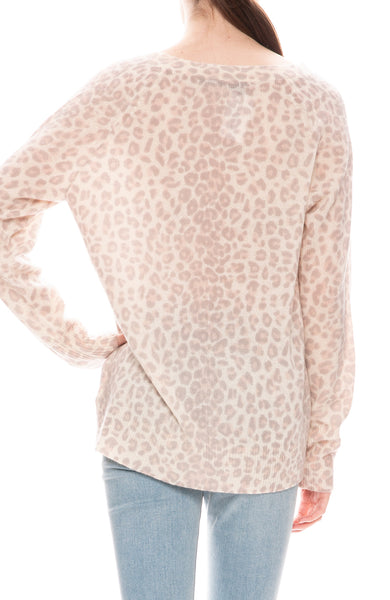 360 Cashmere Leopard V-Neck Sweater in Sorbet