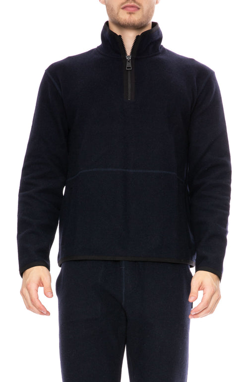 AMI Half Zip Pullover Sweater in Navy at Ron Herman