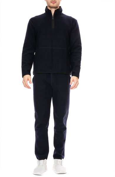 AMI Jogging Pants in Navy with AMI half zip sweater at Ron Herman
