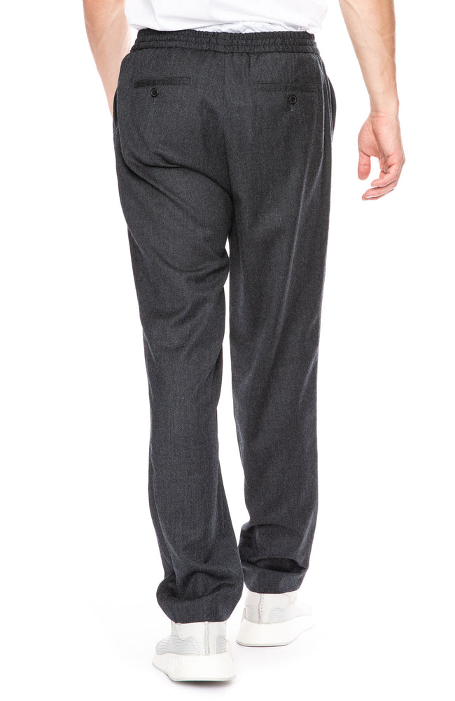 AMI Virgin Wool Elastic Waist Pants in Anthracite at Ron Herman