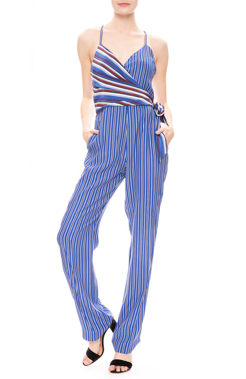 Rag & Bone Womens Felix Blue Stripe Jumpsuit