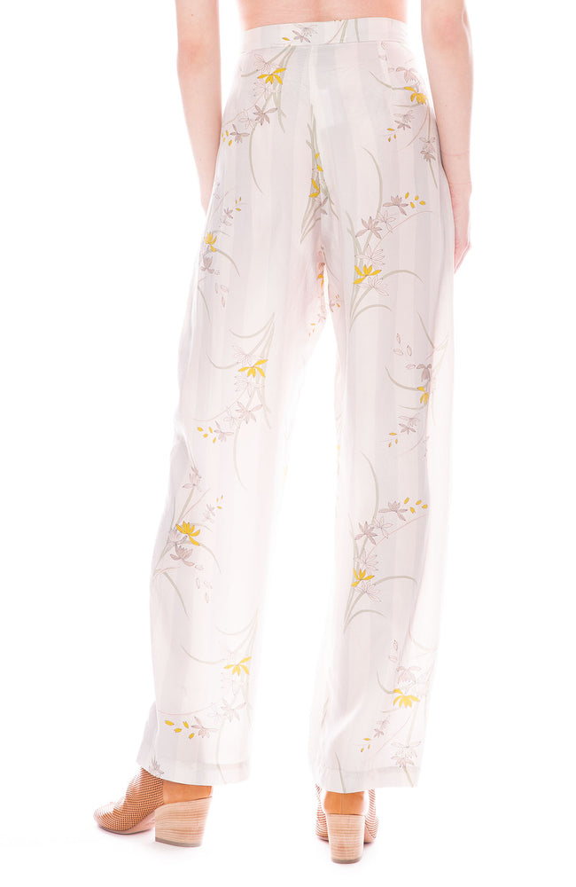 Raquel Allegra Sterling Cream Floral Print Button Front Soft Trouser Pants