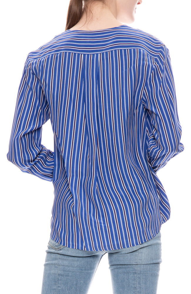 Rag & Bone Womens Felix Blue Stripe Popover Blouse
