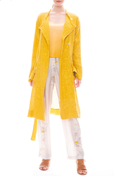 Raquel Allegra Gold Lamè Cropped Double Breasted Trench Coat