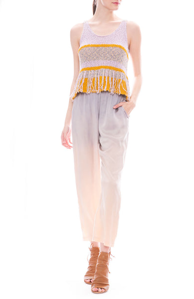 Raquel Allegra Lilac and Golden Sun Yellow Knit Fringe Tank with Silver Glow Hand Painted Ankle Pants