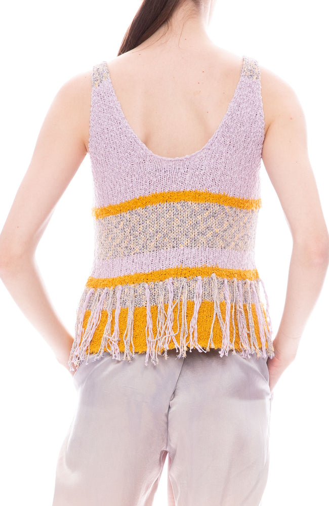 Raquel Allegra Lilac and Golden Sun Yellow Knit Fringe Tank
