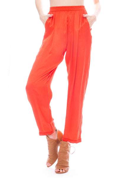 Raquel Allegra Red Satin Sweatpants