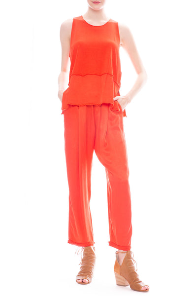 Raquel Allegra Red Satin Sweatpants with Satin Hem Sleeveless Blouse