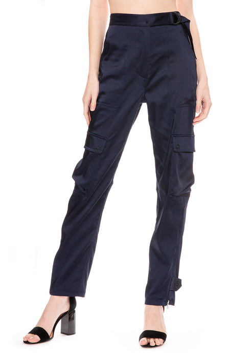 Structured Satin Utility Pants