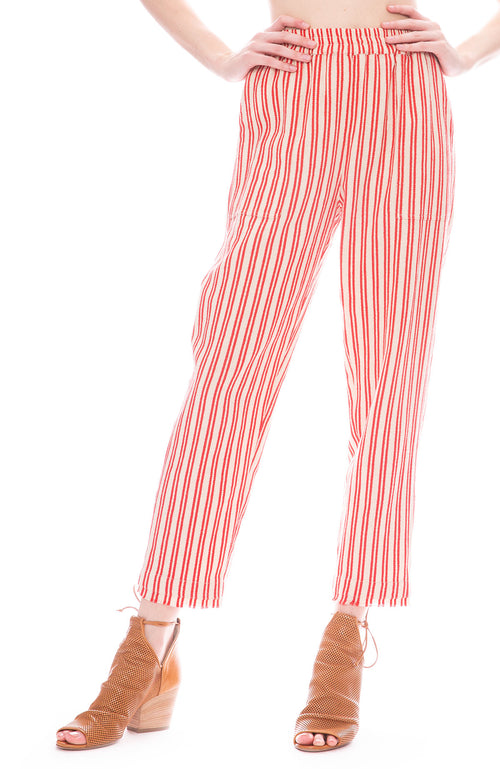 Raquel Allegra Natural and Red Striped Tailoring Pull On Pants