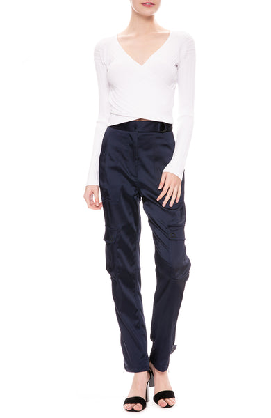 Jonathan Simkhai Structured Satin Utility Pants in Midnight Blue with Cross Front Top