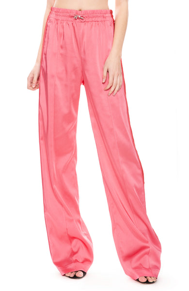 Jonathan Simkhai Sateen Combo Track Pants in Hot Pink