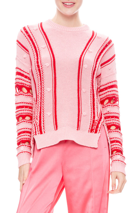 Chunky Cotton Stripe Front Slit Sweater