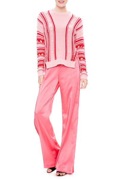 Jonathan Simkhai Sateen Combo Track Pants in Hot Pink with Cotton Stripe Sweater