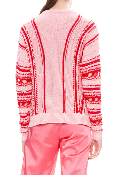 Jonathan Simkhai Chunky Cotton Stripe Front Slit Sweater in Hibiscus / Red