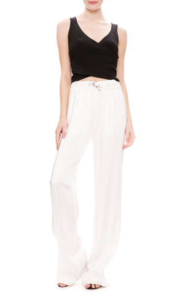 Jonathan Simkhai Sateen Combo Track Pants in White with Eyelet Wrap Tank
