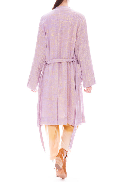 Raquel Allegra Lilac Lamè Cropped Double Breasted Trench Coat