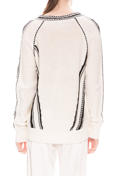 Jonathan Simkhai Chunky Stripe V-Neck Sweater in White / Black