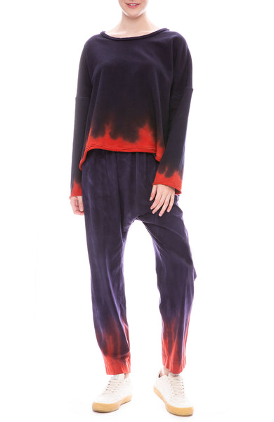 Raquel Allegra Night Shade Tie Dye Boxy Sweatshirt with Relaxed Pants