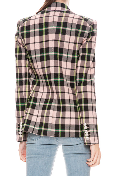 Veronica Beard Pink Plaid Miller Dickey Jacket