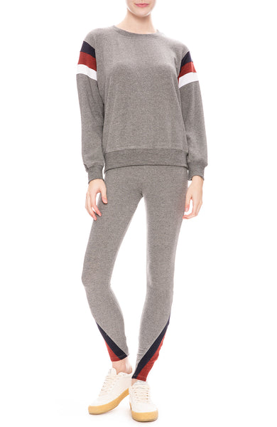 Sundry Color Inset Pullover Sweatshirt and Yoga Pants in Heather Grey