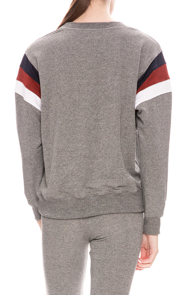 Sundry Color Inset Pullover Sweatshirt in Heather Grey