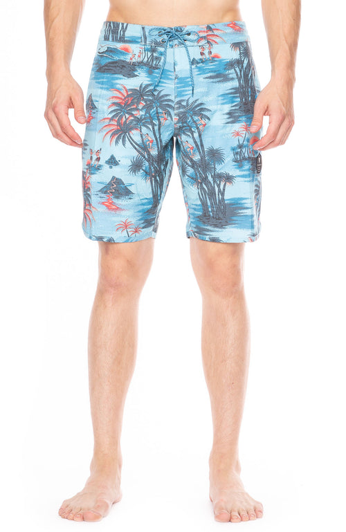 Vissla Banzai Tropical Print Board Shorts in Light Blue at Ron Herman