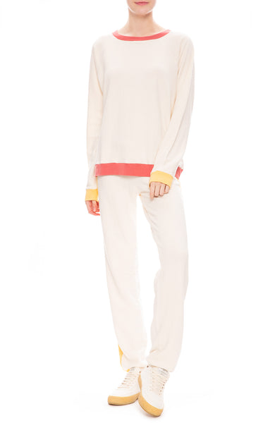 Monrow Womens Colorblock Oversized Raglan Sweatshirt and Sweatpants in Cream