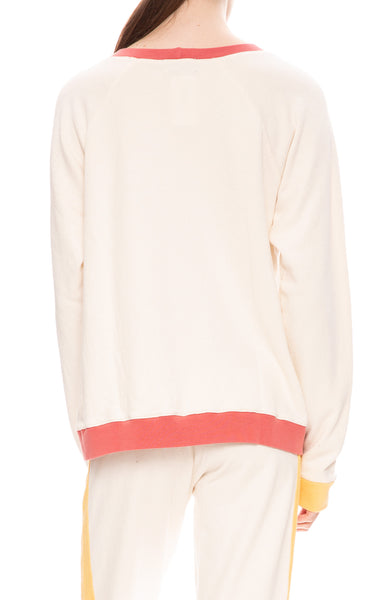 Monrow Womens Colorblock Oversized Raglan Sweatshirt in Cream