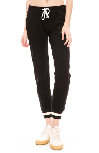 Monrow Womens Sporty Sweatpants in Black