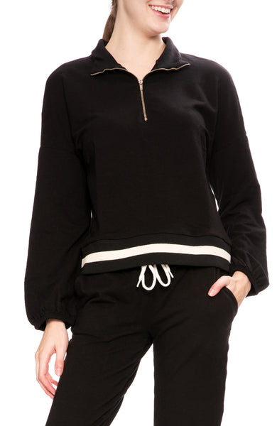 Monrow Womens Half Zip Pullover Sweatshirt in Black