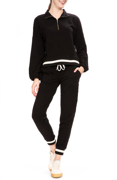 Monrow Womens Sporty Sweatpants and Half Zip Pullover Sweatshirt in Black