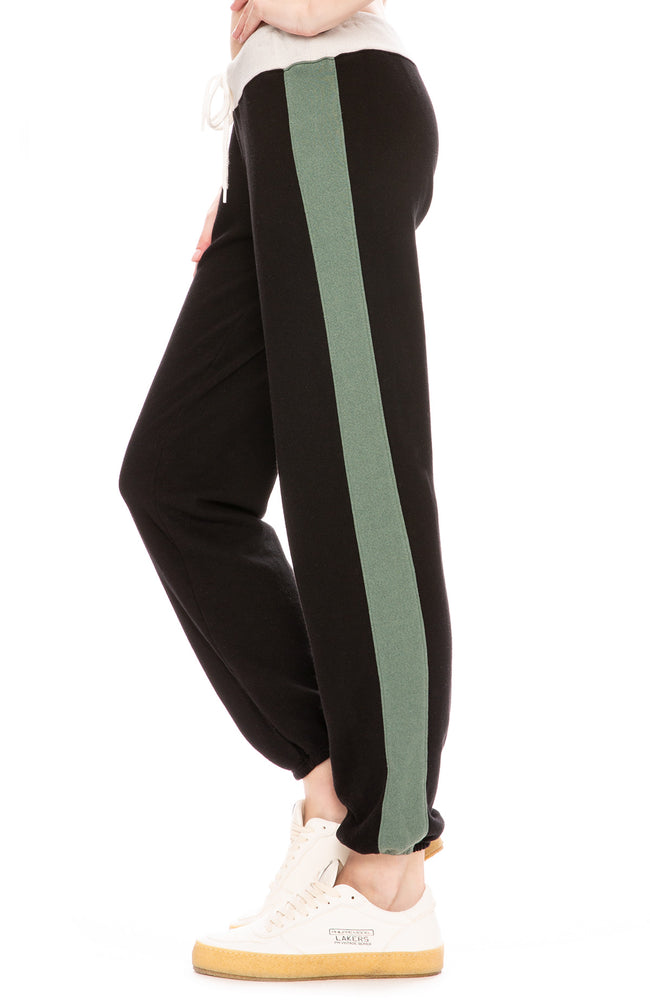 Monrow Womens Colorblock Vintage Sweatpants in Black