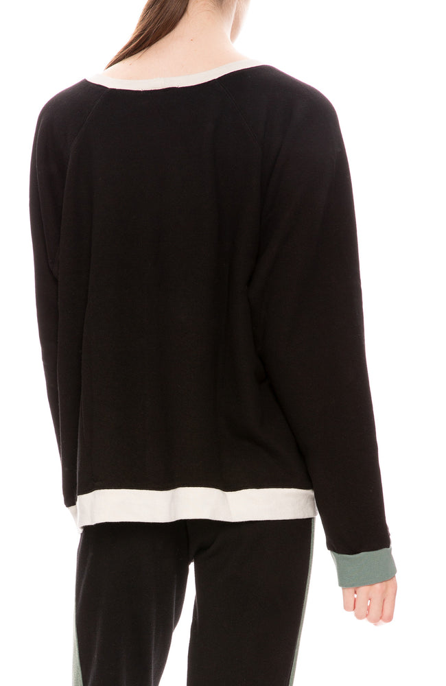 Monrow Womens Colorblock Oversized Raglan Sweatshirt in Black