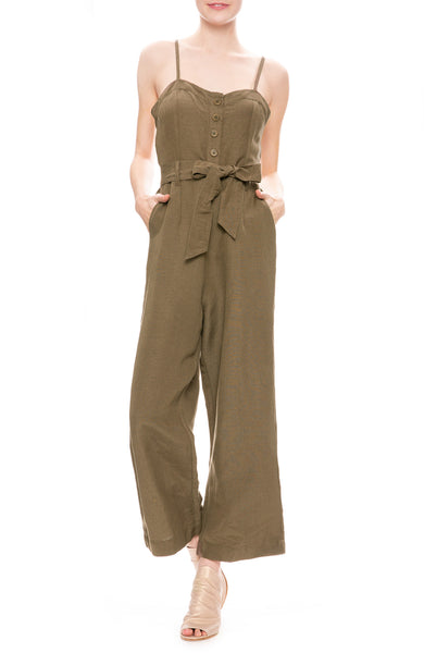 Rails Harper Linen Jumpsuit in Olive Green
