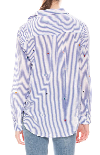 Rails Taylor Navy and White Stripe Rainbow Embroidered Heart Shirt