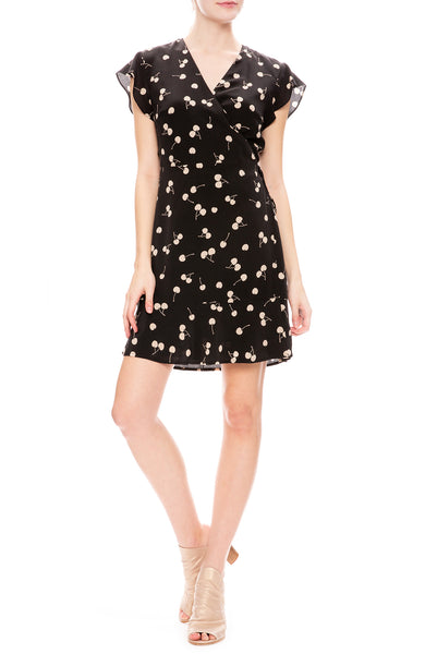 Rails Black Leanne Wrap Dress with All Over Cream Cherry Print