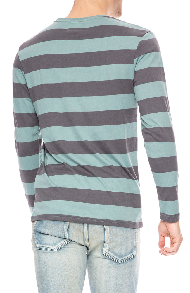 Captain Fin Harold Charcoal / Teal Stripe T-Shirt at Ron Herman