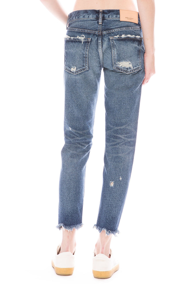 Moussy Vintage MV Kelley Straight Leg Tapered Jean in Dark Blue