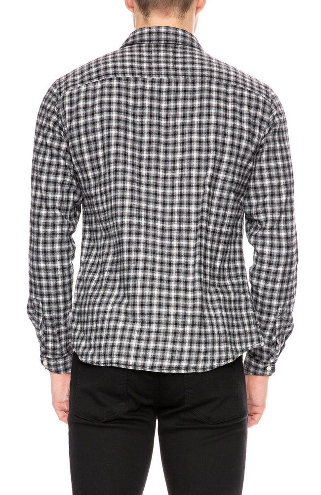 Life After Denim Sherbrooke Brushed Cotton Check Shirt in Black and White at Ron Herman