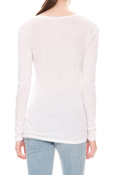 L'Agence Perfect Long Sleeve Tee in White at Ron Herman
