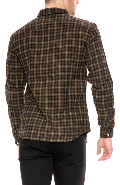Life After Denim Sherbrooke Brushed Cotton Check Shirt in Black and Caribou at Ron Herman
