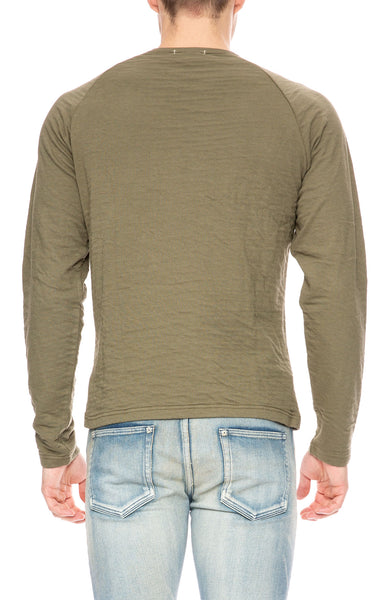 Alex Mill Double Knit Raglan Sweater in Deep Olive at Ron Herman