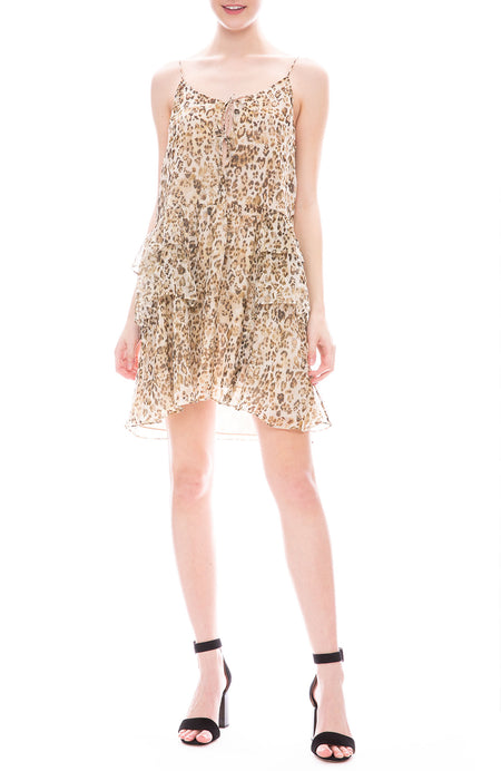 Buzon Silk Leopard Flare Dress