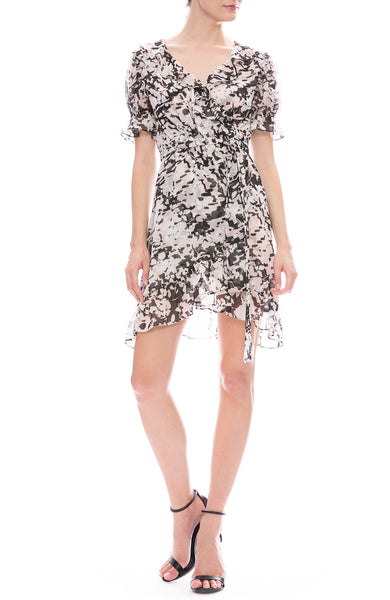 Misa Los Angeles Everly Floral Print Mini Wrap Dress