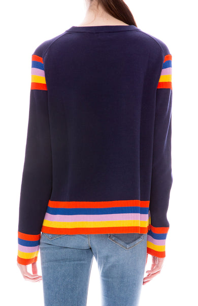 Kule Evelyn Navy Pullover Sweater with Multi Colored Stripes