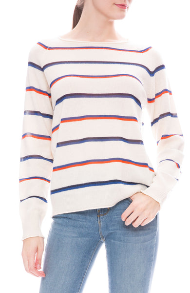 Kule Penny Cream Sweater with Red and Blue Stripes