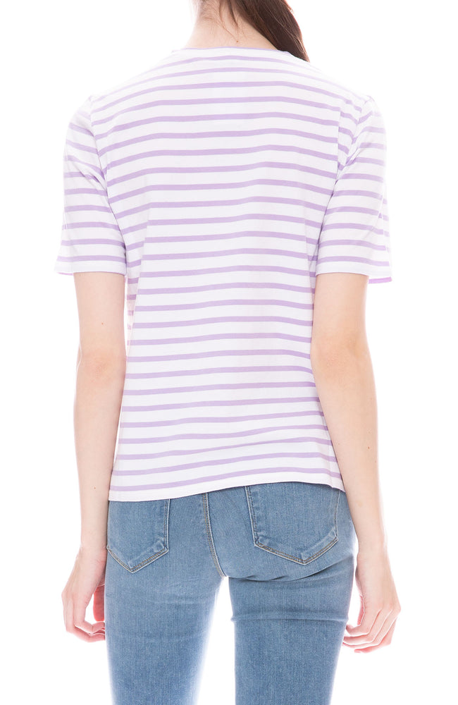 Kule Modern Short Sleeve T-Shirt in White with Lilac Stripes