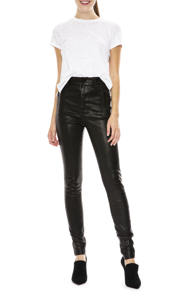 Lora High-Rise Leather Pant in Black