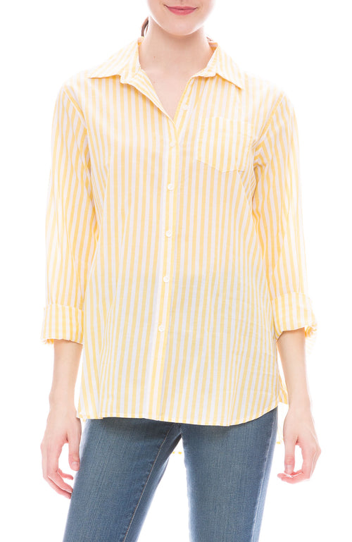 Trovata Grace Yellow and White Stripe Classic Shirt